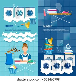 Laundry room with washing machine, ironing board, clothes rack, household chemistry cleaning, washing powder and basket. Laundry service banner dry cleaning clothes banner