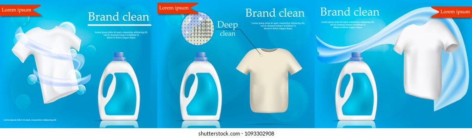 Laundry service banner concept set. Realistic illustration of 3 laundry service vector banner concepts for web