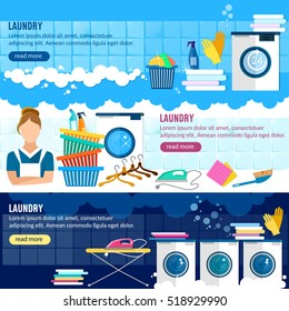 Laundry service banner, laundry room with facilities for washing clothes, laundry staff washing machine