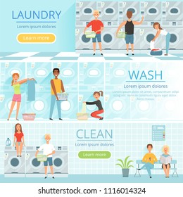 Laundry service. Banners design with washing pictures. Laundromat machine, washing service housekeeping. Vector illustration