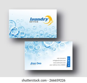 Laundry Service Business Card Vector Template.