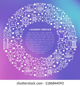 Laundry service concept in circle with thin line icons: washing machine, spin cycle, drying machine, fabric softener, iron, handwash, ozonation, clothepin. Vector illustration, print media template.