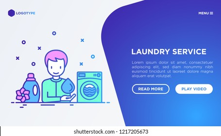 Laundry service concept: man using washing machine and fabric softener. Thin line icons.  Modern vector illustration, web page template.