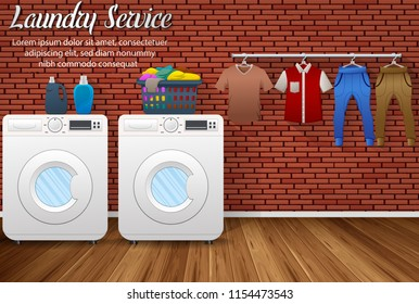 Laundry service design with washing machines and drying clothes on brick wall background