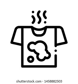 Laundry Service Dirty T-shirt Vector Line Icon. Stink Wear Laundry Service, Washing Clothes Dress Linear Pictogram. Laundromat, Dry-Cleaning, Launderette, Stain Removal Contour Illustration