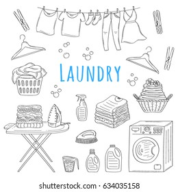 Laundry service hand drawn doodle icons set, vector illustration. Washing, drying and ironing symbols, washing machine, laundry basket, clothes drying , iron, ironing board, hanger, folded clothing.