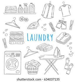 Laundry service hand drawn doodle icons set, vector illustration. Washing, drying and ironing symbols, washing machine, laundry basket, clothes, iron, ironing board, hanger, folded shirts, clothespin.