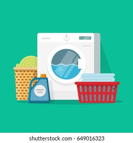 Laundry service room vector illustration, flat cartoon working washing machine with linen baskets and detergent isolated on color background