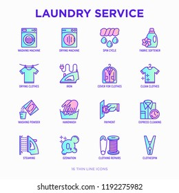 Laundry service thin line icons set: washing machine, spin cycle, drying machine, fabric softener, iron, handwash, washing powder, steaming, ozonation, repair, clothepin. Modern vector illustration.