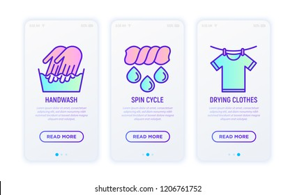 Laundry service thin line icons set: handwash, spin cycle, drying t-shirt with clothespins. Modern vector illustration.