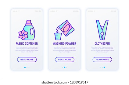 Laundry service thin line icons set: fabric softener, washing powder, clothespin. Vector illustration for user mobile interface.
