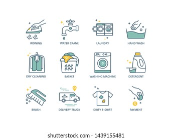 Laundry services related vector line icons with ironing, washing machine, dry cleaning, dirty clothing, detergent, brush, delivery truck, payment.