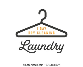 Laundry Shop Logo Template with Dress Hanger