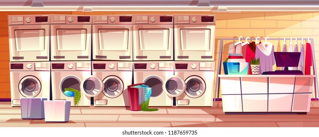 Laundry shop room interior vector illustration of laundromat public or self service. Modern dry clean counter with washing machines, detergent and clothes hanger