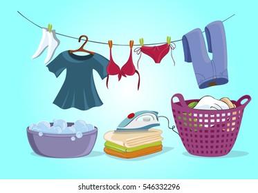 Laundry shop set isolated