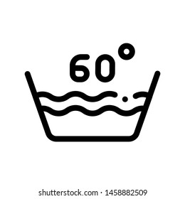 Laundry Sixty Degrees Celsius Vector Line Icon. Water Degrees Centigrade Washing Clothes Dress Service Linear Pictogram. Laundromat, Dry-Cleaning, Launderette, Stain Removal Contour Illustration