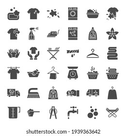 Laundry Solid Web Icons. Vector Set of Washhouse Glyphs.