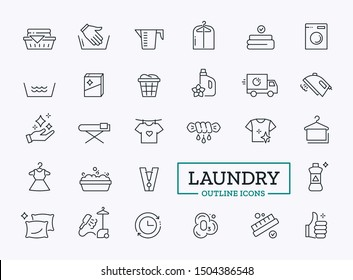 Laundry Symbol Icons. Thin Line Elements. Design for Web