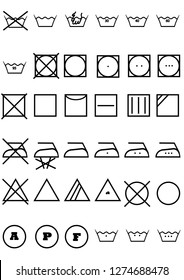 laundry symbols for clothes isolated on white background
