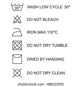 Laundry symbols, icon set, black isolated on white background, vector illustration.
