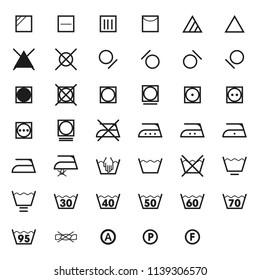 Laundry symbols icon set . washing symbols isolated on white background. Vector image