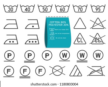 laundry symbols set; signs for garments industry usage or element for label fashion fabric icons with label information flat vector design