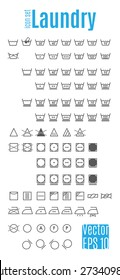 Laundry symbols. Table information and icons for the proper care of things. Easily Editable vector illustration on white background.