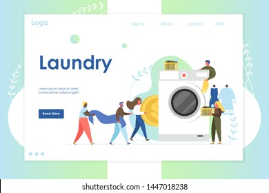 Laundry vector website template, web page and landing page design for website and mobile site development. Tiny people loading big washing machine and putting coin into it. Self-service laundry.