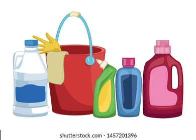 laundry wash and cleaning liquid soap, cleaning shampoo and cleaning bucket with glove and a cloth, detergent bottle and bleach icon cartoon vector illustration graphic design
