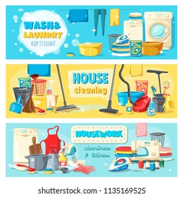 Laundry and wash, house cleaning and housework banners. Equipment and tools for domestic chores and chemical means to clean rooms. Washing machine, vacuum cleaner, iron and cleaning supplies vector