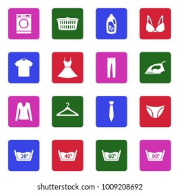 Laundry Washing Icons. White Flat Design In Square. Vector Illustration.