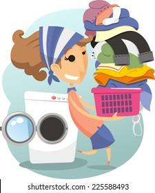 Laundry Woman daily life chores laundry day washing clothes, vector illustration cartoon.