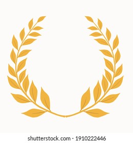Laurel branch as a symbol of glory and victory vector illustration with gold color in hand drawn style isolated on white background