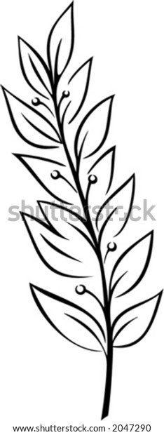 Laurel Branch (Vector). This is a vector image - you can simply edit colors and shapes
