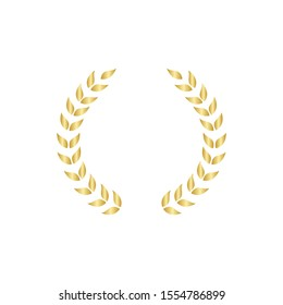 Laurel foliate or olive branches golden greek wreath vector illustration isolated on white background. A winner and champions award and achievement heraldry symbol.