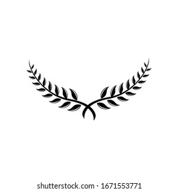 Laurel Leaf crown branch black logo icon design vector illustration