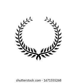 Laurel Leaf crown branch black logo icon design vector illustration