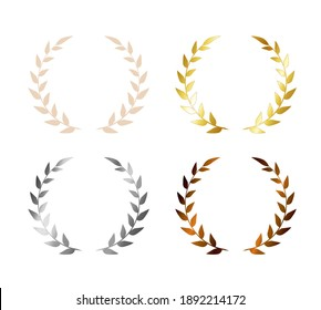 Laurel leaf wreath icon set. Vector Olive wreath award for certificate. gold, silver, bronze, beige. Wreath trophy emblem for a winner. Graphic illustration