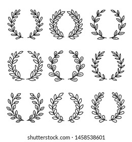 Laurel wreath award icons. Simple linear royal wreaths signs, vector laurels decoration awards, vintage circle awarding frames for winners