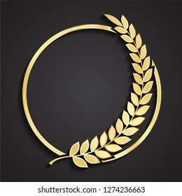 laurel wreath circle 3d golden logo