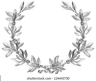 Laurel wreath. Decorative element at engraving style.