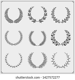 Laurel wreath floral collection. Vector black and white illustration.