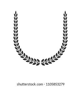 Laurel Wreath floral heraldic element. Heraldic Coat of Arms decorative logo isolated vector illustration.