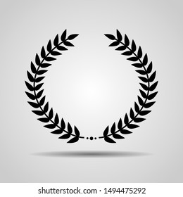Laurel Wreath floral heraldic element. Heraldic Coat of Arms decorative logo isolated on white background. Wreath leafs crown icon with black color. Vector art and illustration.