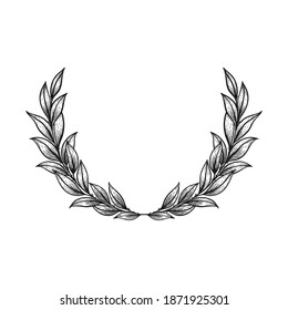 Laurel wreath hand drawn in vintage line art style. Victory symbol, elegant sketch design. Isolated on white background. Floral decorative element for wedding.