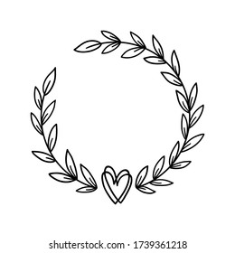 Laurel wreath with heart. Hand drawn floral frame with leaves. Decorative elements for wedding invitation, holiday design. Romantic branches silhouette. Vector illustration isolated.