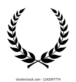 Laurel wreath icon. Emblem made of laurel branches. Laurel leaves symbol of high quality olive plants. Sign isolated on white background. Vector illustration