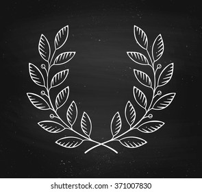 Laurel wreath icon isolated on a black chalkboard background and texture. Vector Illustration