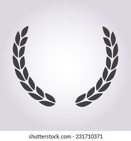 Laurel wreath icon or sign isolated on white background. Vector illustration.
