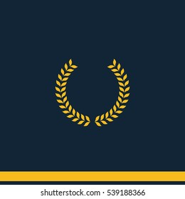 Laurel wreath icon. Simple flat winner vector pictogram.